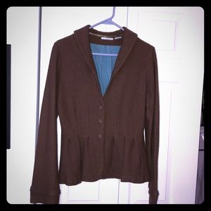 Anthropologie guinevere boiled wool pleated coat L